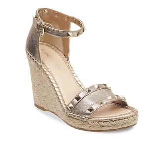 Gold studded Marc Fisher wedge heel sandals